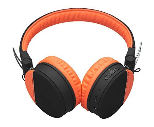 MySound Speak BT Style - Auriculares estéreo in-Ear inalámbricos Bluetooth 4.2 Plegables, micrófono y Controles multifunción, Color Negro y Naranja
