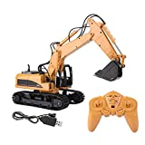 RC Engineering Truck, 15 Channels Remote Control Excavator 1/14 Scale Engineering Vehicle with Light & Music