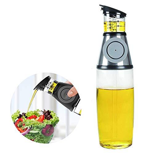 WLXW Glasbehälter Für die Küche, Olivenöl- / Essig-Gewürzspender, Ausgießer, Grill-Kochwerkzeug, Dosierbarer Auslaufsicherer Ölbehälter, 500 Ml,Silber,2Pcs