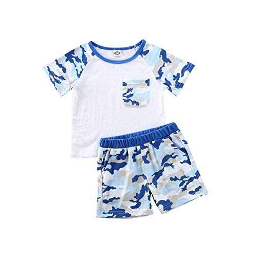 Baby Boy Summer Outfit Short Sleeve T-Shirt Pullover Top and Camouflage Shorts Two Piece Clothes Set (White, 2-3 Years)