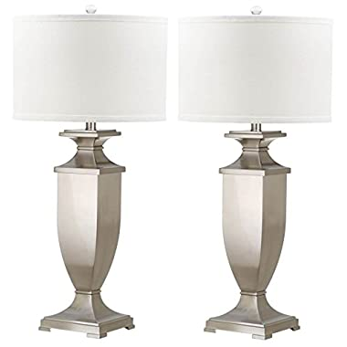 Safavieh Lighting Collection Ambler Nickel 31.5-inch Table Lamp (Set of 2)