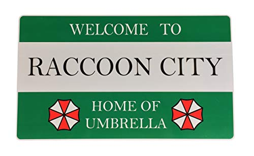 Super6props Resident Evil 2 Remake Welcome to Raccoon City Home of Umbrella Road Sign 430mm x 250mm