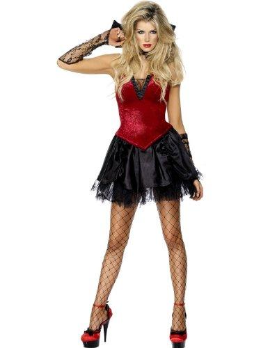 Smiffys 30923S Déguisement Femme Vampire Diablesse, Rouge/Noir, Taille S
