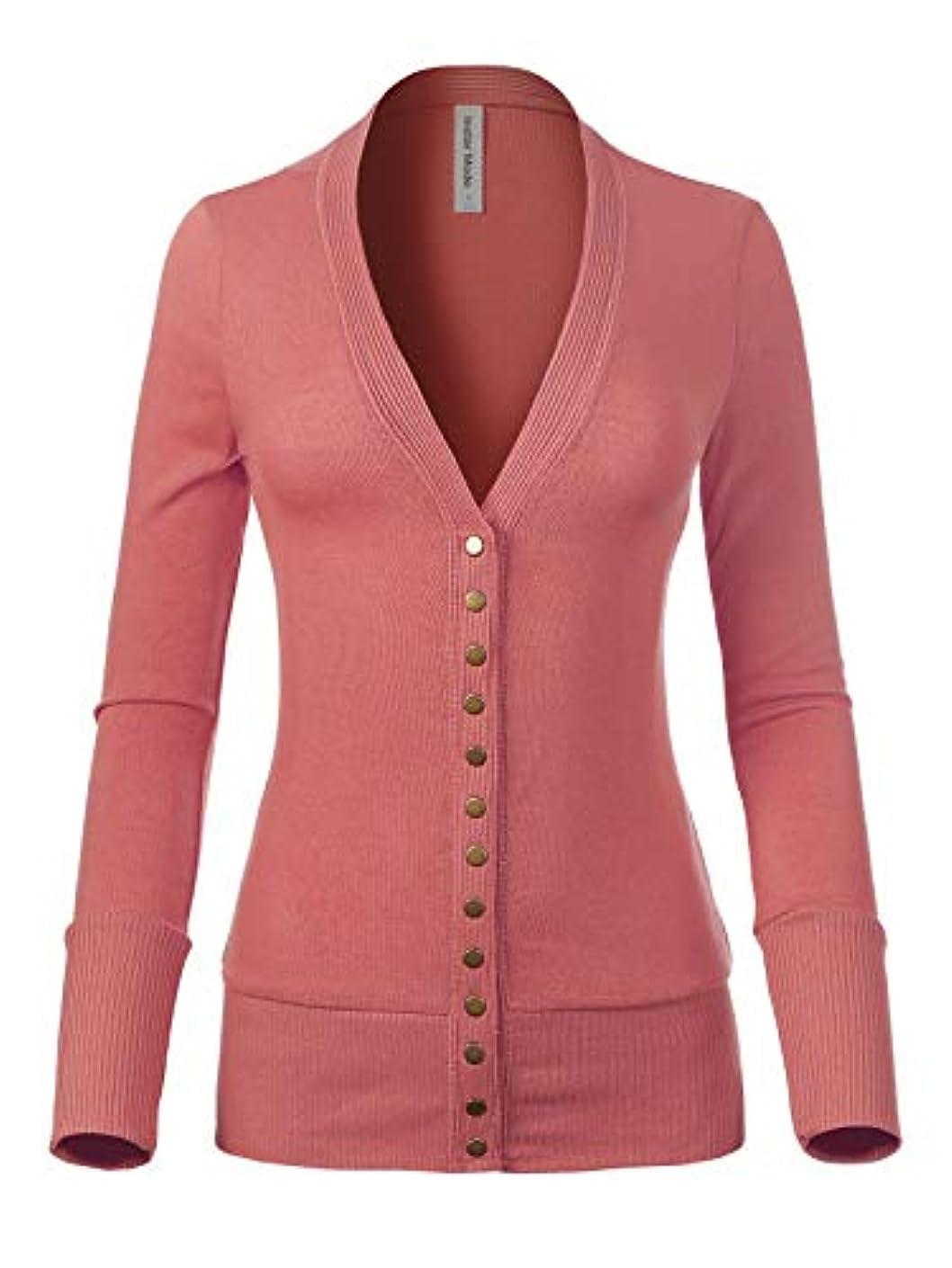 Design by Olivia Women's Soft Basic V-Neck Snap Button Down Knit Cardigan