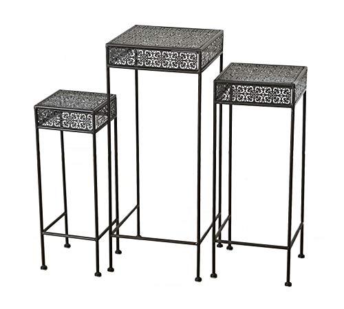 Eisen Pflanzenständer Dunkelbraun - 3er Set / 75, 65 und 55 cm - Blumentopfständer Blumenhocker Hocker Beistelltisch Metall eckig