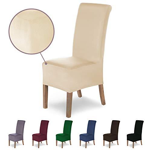 SCHEFFLER-Home Stretch Stuhlhusse Lena   elastische Stuhlabdeckung   Stuhlhussen Schwingstühle   Spannbezug mit Gummiband   Elegante Stuhlbezüge