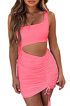 CHYRII Women s Sexy One Shoulder Sleeveless Cutout Ruched Bodycon Party Club Mini Dress Neon Pink-7015 Small