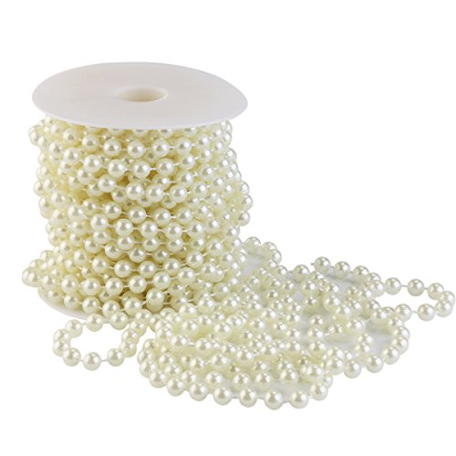NUOLUX Pearl Beads on String 10m for Wedding Baby Shower Birthday Color Beige