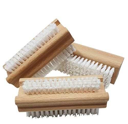 Pilix Holz Nagelbürste Harte Borsten aus Kunststoff | 3 Stück | hart gegen Schmutz, Öl und Fett | griffiger unbehandelter Holzkörper | Fingerbürste Nagelbürste hart | Handbürste hart