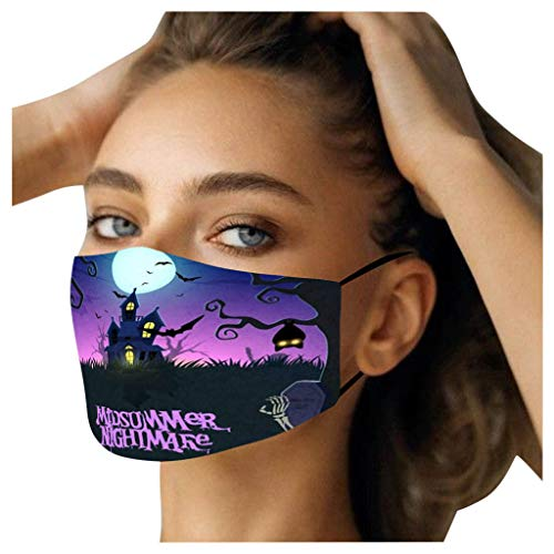 Hechun Halloween Mask for Adults Funny Expression Printing Safty Protection Face Bandanas for Outdoor Activity