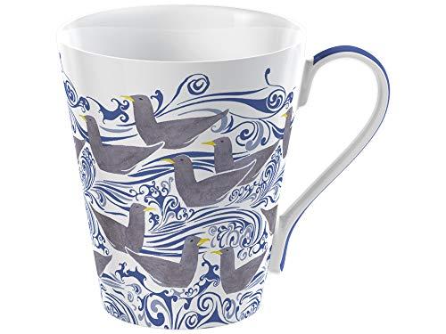 V&A Taza con diseño de gaviotas Voysey en caja de regalo, porcelana fina de hueso, blanco, 450 ml