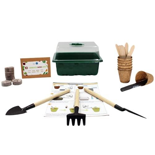 Anzû - Kit listo para empujar – Material completo para arrancar el jardín – Incluye herramientas, maceta de fibra de coco – semillas – Pastilla de turba – Accesorios ecológicos y fáciles de usar