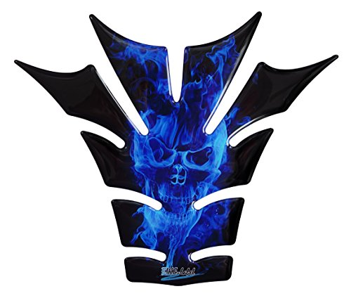 R1200GS 3d–Ghost Blue Diseño de Calavera/llamas Azul–501120–Universal para Yamaha, Honda, DUCATI, SUZUKI, KAWASAKI, KTM, BMW, Triumph y Aprilia depósitos