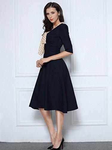 Miusol Damen V-Ausschnitt Schleife Cocktailkleid Faltenrock 50er 60er Jahr Party Stretch?Kleid Blau Gr.L - 7