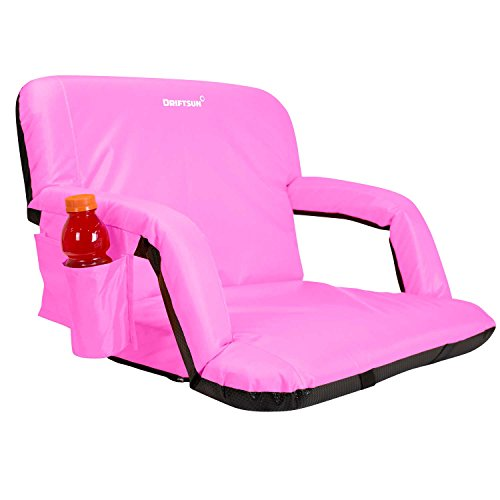 Driftsun Wide Reclining Stadium Seat - Deluxe Extra Wide Reclining Bleacher Chair with Back Support, Folding Sport Chair for Bleachers, Lawns, and Backyards (Expanded Width, Pink)