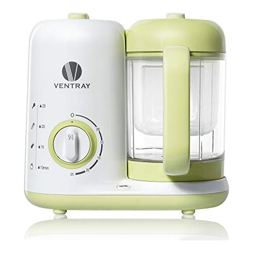 Ventray BabyGrow 300 Baby Food Maker, All-in-one Baby Food Processor, Blender, Steamer, Cooker, Chop, Grind, Puree, Quick, Easy Clean,BPA-Free,Green