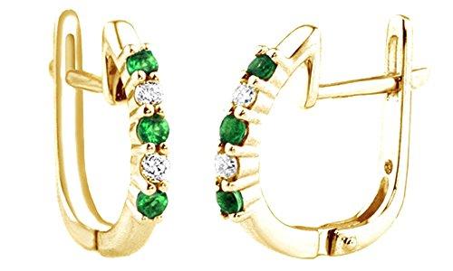 Cyber Monday Deals - Orecchini a cerchio in oro bianco massiccio 585 da 14 ct con smeraldo verde e diamante naturale e Oro giallo, colore: Giallo, cod. UK-M-CMEJWU530-YG