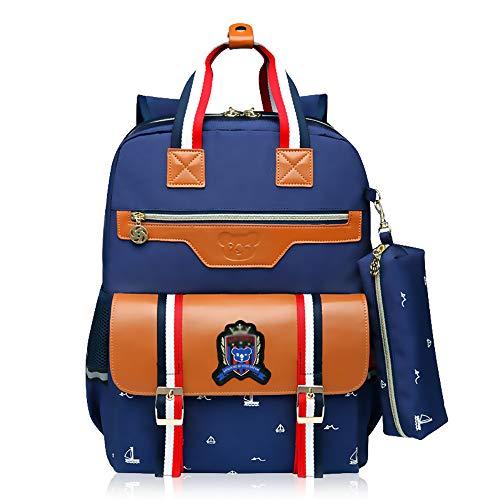 Zaino in nylon impermeabile per bambini con borsa per trolley con ruote rimovibili, zaino per trolley, borsa blu scuro/rosa-6 ruote-blue-6wheels