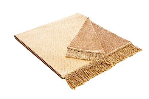 Bocasa Biederlack Sesselschoner Cotton Cover aus Baumwolle, Salt & Pepper Beige, 50x200 cm