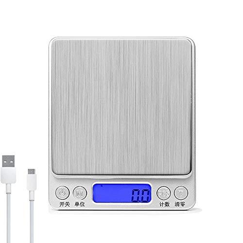 Digitale keukenweegschaal voor koken en afvallen, multifunctionele USB-lader keukenweegschaal, LCD-display met weegschaal voor levensmiddelen, sieraden 3000 g x 0,1 g.