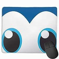青い目 マウスパッド 25x30cm レーザー&光学マウス対応 防水/洗える/滑り止め 中型 ブラック