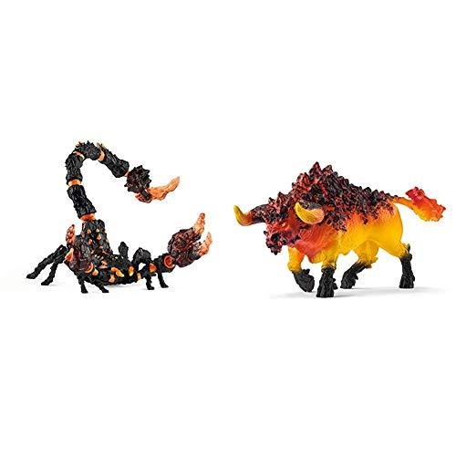 Schleich 70142 Eldrador Creatures Spielfigur - Lavaskorpion, Spielzeug ab 7 Jahren & 42493 - Feuerstier