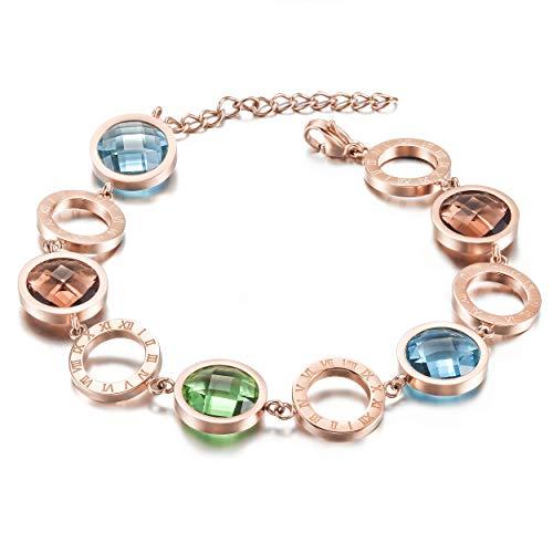 WISTIC Jewelry Damen Armband aus Edelstahl Vergoldet Armkette Rose Gold Silber Nickelfrei