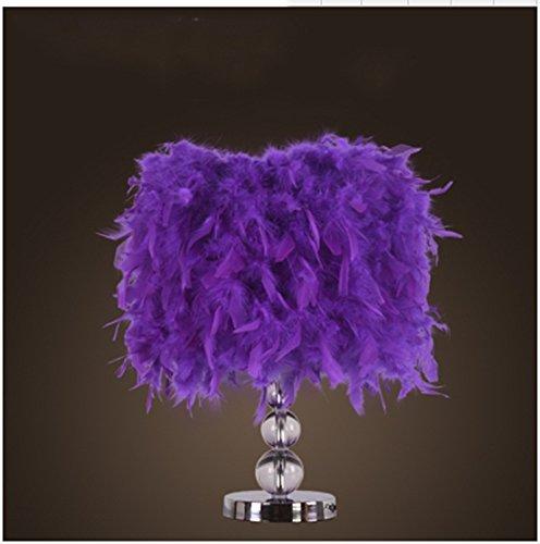 MENA HOME- Modern Simple Creative Warm Living Room Bedroom Éclairage Éclairage Lampadaire de mariage en bois Lampe de table en cristal (Couleur : Violet)