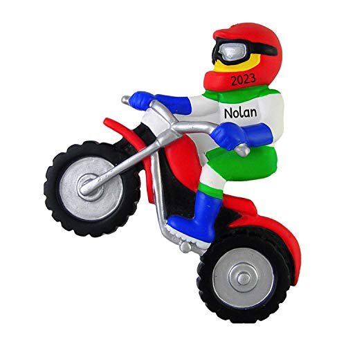 Personalized Dirt Bike Racer Christmas Tree Ornament 2020 - Motorcycle Boy Girl Athlete Cycling Front Flip Rough Terrain Extreme Sport Profession Hobby Activity - Free Customization