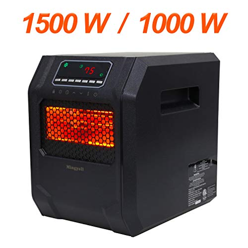 Infrared Space Heater,1000W/1500W Quartz Electric Heater,6-Element with Remote Control 12 Hour Timer,Thermostat Control System with Tip-Over and Overheat Protection for Home Larger Room Heater Infrared Space