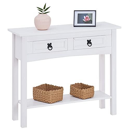 CARO-Möbel Konsolentisch Rural im Mexiko Stil Beistelltisch Kiefer massiv mit 2 Schubladen, 1 Ablageboden weiß...