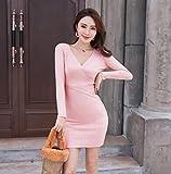 Moda Sudaderas Jersey Sweater Vestido De Suéter Manga Larga Cuello En V Profundo Ropa De Jersey Delgado 11 Colores Vestidos Ajustados De Algodón De Punto Talla Única Rosa
