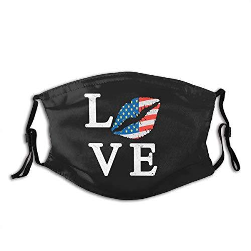 Liefde Lippen Met USA Vlag Sterren Strepen Rood Wit Blauw Mond Mouw Met Filter Unisex