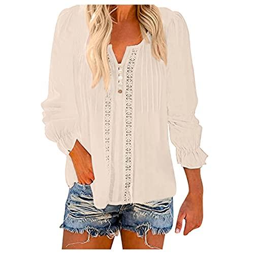 URIBAKY - Camicia da donna, a maniche lunghe, scollo a V, a maniche lunghe, con stampa, taglia grande, A-beige., XL