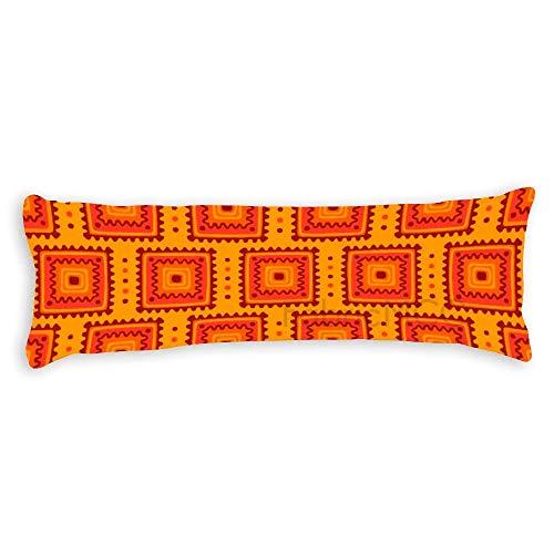 JamirtyRoy1 Funda de almohada corporal, diseño azteca, funda de almohada supersuave con cremallera oculta, funda de cojín de 50 x 130 cm de largo para dormir lateral