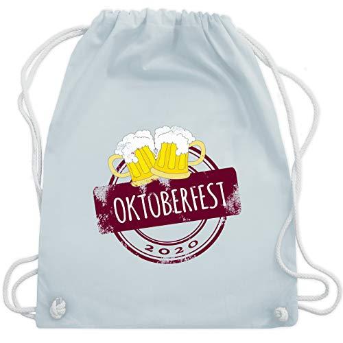 Shirtracer Oktoberfest Beutel - Vintage Stempel Oktoberfest 2020 - Unisize - Pastell Blau - Bier - WM110 - Turnbeutel und Stoffbeutel aus Baumwolle