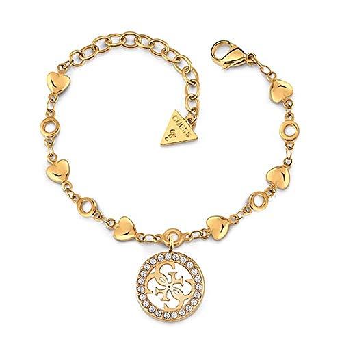 Pulsera Guess Jewellery Tropicl Sun UBB78017-S acero inoxidable quirúrgico chapada oro corazones