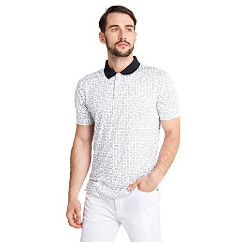 Calvin Klein Męska koszulka polo 2020 Geo CK oddychająca odprowadzająca wilgoć z krótkim rękawem golfowa koszulka polo