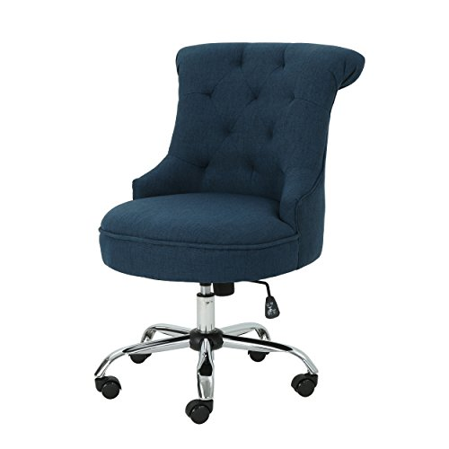 Christopher Knight Home Tyesha Desk Chair, Navy Blue + Chrome