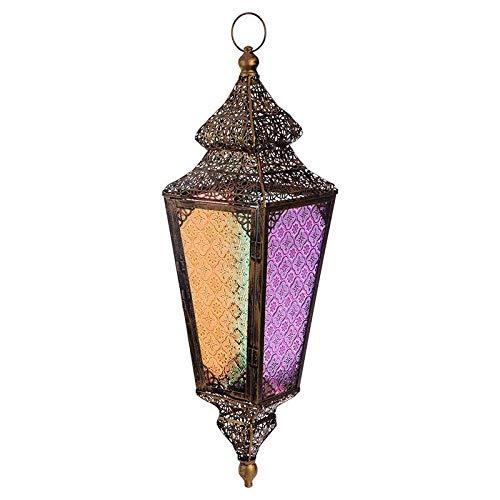 Puckator Marokkanische Laterne aus Metall und Buntglas, zum Aufhängen, für Kerze oder Teelicht, Maße (H x B x T): 68 x 18 x 18 cm, tolle Wohn- und Lichtdeko im farbenfrohen orientalischen Stil