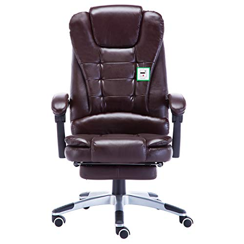 JR Knight Leather Office Chair, Executive Home Office with Footrest, Ergonomic Computer Desk Swivel Chair with Adjustable Height, Task Chair with Tilt Function (Brown)