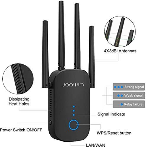 HELIn Extensor WiFi WR758AC CF1200 Hasta 1200mbps 2.4 y 5.8GHz Extensor de rango WiFi de doble banda Amplificador de señal inalámbrico Repetidor WiFi con antenas externas Extiende Internet a dispositi
