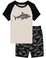 Family Feeling Shark Little Boys Shorts Set Pajamas 100% Cotton Sleepwear Toddler Kid Size 7 Black/White