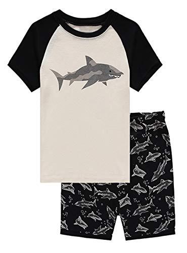 Family Feeling Shark Big Boys Shorts Set Pajamas 100% Cotton Sleepwear Toddler Kids Size 12 Black/White