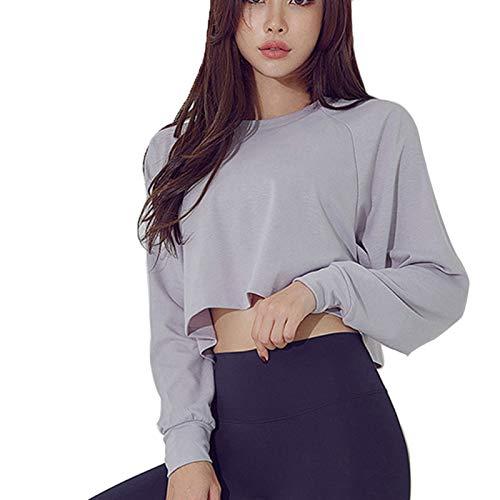 Tops de Entrenamiento para Mujer Suelto Workout Tops t-Shirts Camiseta de Yoga Camisetas Cortas Cuello Redondo Camisetas de Manga Larga para Correr Fitness Yoga,Púrpura,L