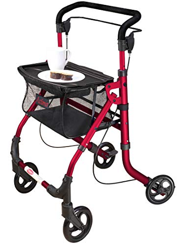 FabaCare Indoor Rollator ActimoHome, schmal mit Tablett, Leichtgewicht Wohnungsrollator faltbar, Heimrollator, bis 100 kg, Rot