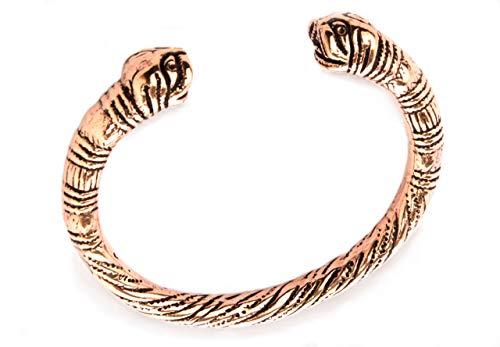 Windalf Nordischer Viking Armreif Midgard Ø 6.4 cm Ethno Vintage-Armschmuck Midgardschlange Hochwertige Bronze