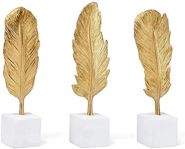 Imax Golden Feather Statuaries Set Of 3
