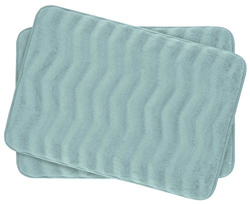 Bounce Comfort Waves Extra Thick Memory Foam Bath Mat Set - Plush 2 Piece Set with BounceComfort Technology, 17 x 24 in. Aqua