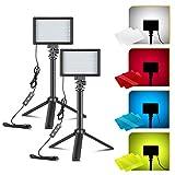 ONSEKO Kit de Iluminación de Mesa con Luz LED para Video 10W 5600K 4 Filtros de Color con Mini Trípode Extensible Actualizado para Iluminación Fotográfica etc.